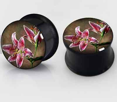 $7.57 • Buy Lily Plugs PAIR 2 Flower Stainless Steel Gauge Double Flare Pink Lillies Saddle