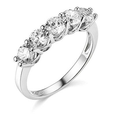 $219.76 • Buy 2.50 Ct Round Cut Real 14k White Gold 5-Stone Wedding Anniversary Band Ring