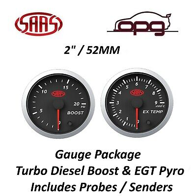 AU119.98 • Buy SAAS Streetline Series Diesel EGT & Boost 20 PSI 52mm Gauge Combo Black Face