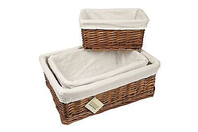 Wicker Storage Basket With Lining Xmas Gift Hamper In Sml,Med Or Lrg • 6.75£
