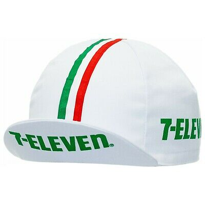 AU23.95 • Buy 7-Eleven Retro Pro Team Cycling Cap In White W/ Italian Stripes Ribbon Bands