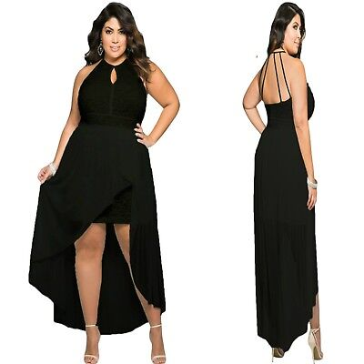 Sz 14 16 Black High Low Lace Cocktail Dance Evening Party Sexy Gown Chic Dress • 30.84£