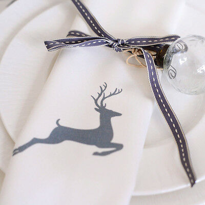 £25 • Buy Luxurious Designer Christmas Napkins 100% Cotton Made In UK Vintage Grey Stag