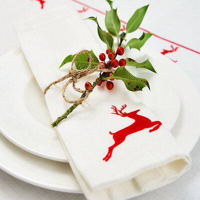 £25 • Buy Luxurious Designer Christmas Napkins 100% Cotton Made In UK Vintage Red Stag
