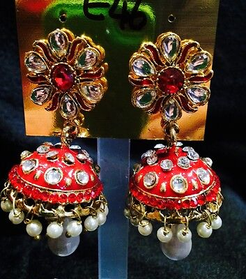 AU16.90 • Buy Bollywood South Indian Designer Pierced Earrings Pearls Jhumka White Red E46