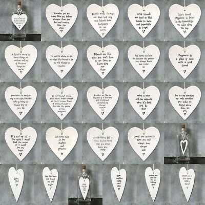East Of India White Porcelain Hanging HEART Inspirational Quotes Gift Decor • 5.75£