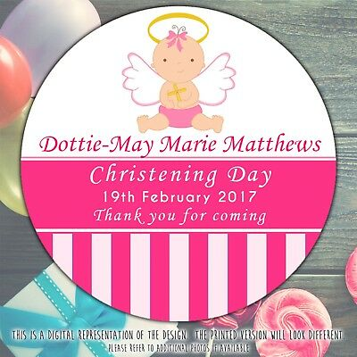 £2.49 • Buy Personalised Pink Baby Angel Christening Round Stickers Labels Party Cone Sheet