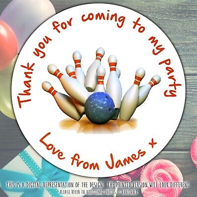 £3.49 • Buy Personalised Ten Pin Bowling Birthday Party Round Stickers Labels Party Sheet