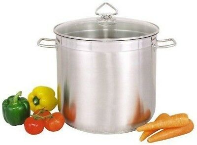 £25.99 • Buy Large Deep Stainless Steel Cooking Stock Pot Casserole Glass Lid - CATERING