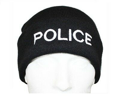 £10.29 • Buy POLICE Beanie / Woolly Hat (BLACK) For PCSO, SECURITY, Watch Cap