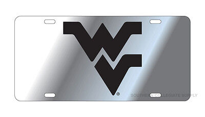 $ CDN30.17 • Buy WVU WEST VIRGINIA Mountaineers Silver-Black Mirrored License Plate / Car Tag
