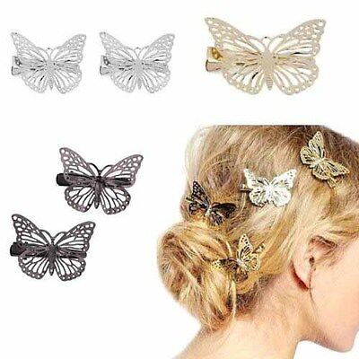 Gold Silver Black Butterfly Hair Clips Hairpins Wedding Barrette Accessories  • 3.50£