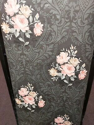 Brigitte, Peach & Black Floral Damask Wallpaper • 13.99£