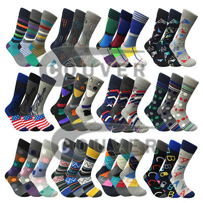 Men's Funny Colorful Novelty Crew Casual Patterned Socks 3 Pair Bundle • 11.45£