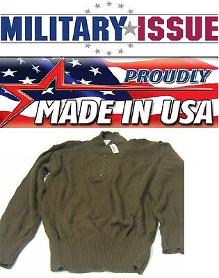 $14.99 • Buy NEW Military Issue ARMY SWEATER 5 Button OD/Brown Army Jeep Sweater (SM 38-40)