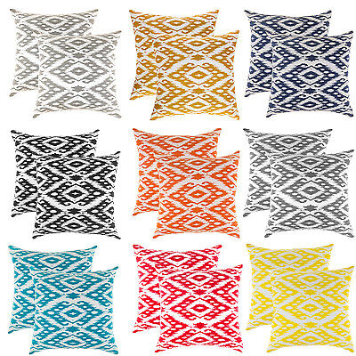 TreeWool, (2 Pack) Ogee Diamond Design Cotton Canvas Cushion Covers Pillowcases • 13.99£