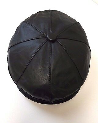 NEW 100% Real Leather Buttoned 8 Panel Flat Cap Soft Comfortable Black 4 Sizes. • 14.99£