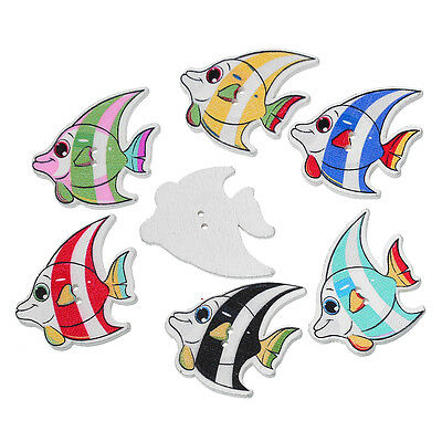 £2.95 • Buy The Bead And Button Box -  Mixed Colour Angel Fish Wood Sewing Buttons. 3.2cm