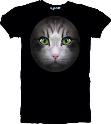 £14.97 • Buy New Cat Face T-shirt Large Quality Lasting Print Sizes Ladies 6/8 To Unisex 5XL