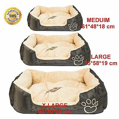 Pet Basket, Bed With Fleece Soft Comfy Fabric Washable Dog Cat Cosy Dogs Cats • 17.99£