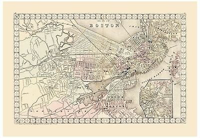 AU33.79 • Buy Old Vintage Map Of Boston Mitchell 1874