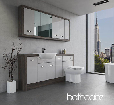 Bathroom Fitted Furniture Light Grey Gloss/mali Wenge A1 1800mm With Wall Units • 1,625£