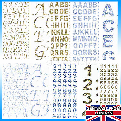 UK STICKERS LETTERS NUMBERS ALPHABET GLITTER Sheets Gold Silver BOLD Card Making • 2.48£