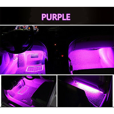 $7.04 • Buy 4x 9 LED Car Decorative Light Lamps Charge Interior Accessories Foot Purple-Pink
