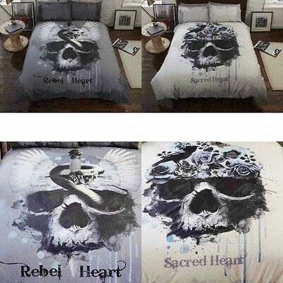 Rapport Gothic Heart Dark Floral Skull Design Duvet Set Single Double King Size • 19.99£
