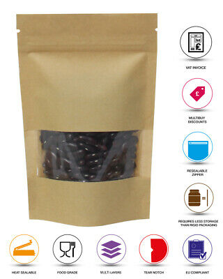 Window Kraft Paper Stand Up Pouch With Zip Lock Heat Seal Bags Doy Pack Special • 2.05£