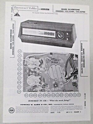 $ CDN20.66 • Buy Sams Photofact Folder Radio Parts Manual Sears Silvertone Chassis 132.53501