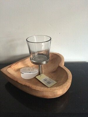 Landon Tyler Wooden Heart And Glass Candle Holder • 14.99£