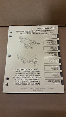 $49 • Buy M101 M116 Trailer Manual Maintenance Parts Special ToolsTM9-2330-202-14