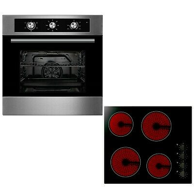 Cookology 60cm Built-in Electric Fan Oven & Knob Control Ceramic Hob Pack • 309.99£