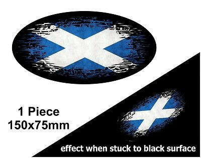 Oval FADE TO BLACK Scotland Scottish Saltire Flag Vinyl Car Sticker Decal 150mm • 2.69£