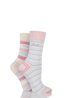 Ladies 2 Pair Elle Striped Bamboo Socks With Comfort Cuff • 9.99£