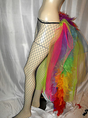 Big Rainbow Burlesque Layer Bustle Belt Feathers Carnival Pride Size S Xxxxxxl • 21.30£