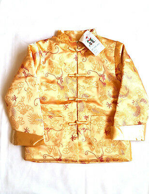£24.99 • Buy Chinese Style Boy's Jacket Silky Fabric With Dragon Design