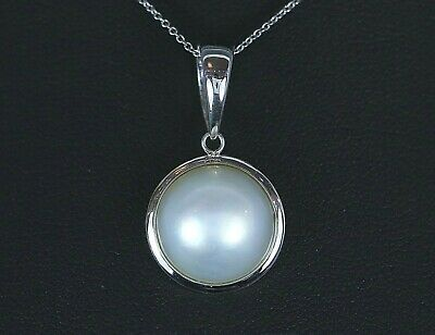 $495 • Buy $1,595 14K White Gold Round 13.5mm Cultured Mabe Pearl Pendant Chain Necklace