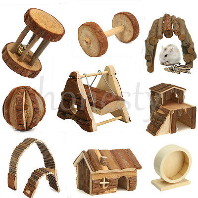 £5.09 • Buy Wooden House Villa Cage Exercise Toy Hamster Hedgehog Mouse Rat Guinea Pig HOT