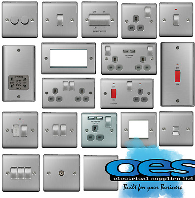 Bg Nexus Metal Brushed Steel Decorative Light Switches & Sockets Grey Inserts • 8.90£