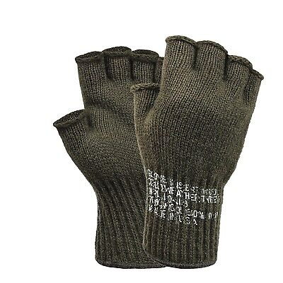 $7.99 • Buy Cut Off Wool Gloves Us Army Made In Usa Black-olive One Size