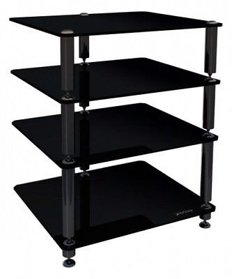 Norstone Bergen 2 Hi Fi Stand In Black Glass 4 Shelf Seperates For AV Components • 199.99£