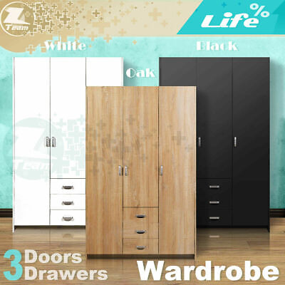 AU227.95 • Buy 3 Doors 3 Drawers Wardrobe Cabinet Unit Bedroom Clothe Storage Clothes Organizer