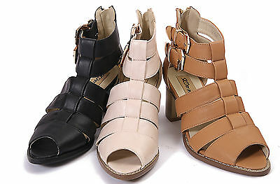 £9.99 • Buy Womens Ladies Strappy Heel Gladiator Cut Out Geek Boots Sandals Shoes Size 3-8