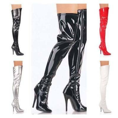 £27.99 • Buy Womens Mens Sexy Thigh High Over The Knee High Heel Stretch Boots Sizes Uk 3-12