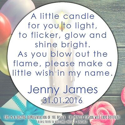 Personalised Christening Candle Round Stickers Labels Party Cone Sheet • 2.39£