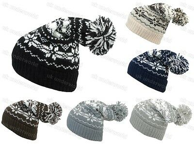 £3.89 • Buy Mens Ladies Knitted Oversized Slouch Beanie Bobble Hat Adults Fairisle Design