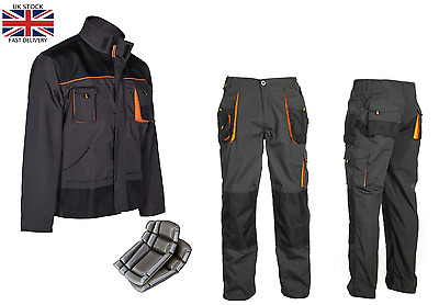 Work Trousers Mens Cargo Combat Style Heavy Duty Knee Pads Pockets Grey&orange • 14.99£