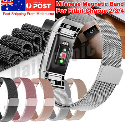 AU10.89 • Buy For Fitbit Charge 4 3 2 Band Metal Stainless Steel Milanese Loop Wristband Strap
